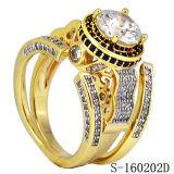 De Juwelen Zwart CZ 925 van de manier de Zilveren Ronde Reeksen van de Ringen van CZ van de Besnoeiing