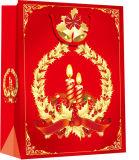 Flocon de neige avec étiquette imprimée la vente en gros de la conception de vacances sac de papier personnalisé