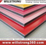 3 mm y 4 mm de poliéster recubierto de panel compuesto de aluminio para la muestra de