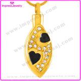 Forma de acero inoxidable 316L oval con cristales colgantes de la joyería de cremación Collares de cenizas