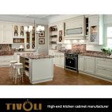 """Gabinete de cozinha ondulado da parte alta afiada e """"sexy"""" com revestimento branco lustroso elevado Tivo-0205h da pintura do mel"""