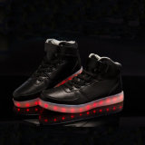Cuero genuino Zapatillas casual zapatos LED luminosos