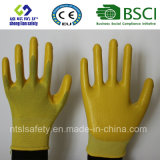 Interpréteur de commandes interactif de polyester avec les gants de travail enduits par nitriles (SL-N105)