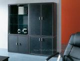 Ficheiro elegante do couro do estilo com porta de vidro (G07)