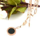 Collar largo Collar de moda de moda Collar de acero inoxidable negro Shell