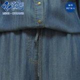 Il manicotto lungo blu scuro Gira-Giù il vestito delle signore dei jeans delle caselle del tasto di collare