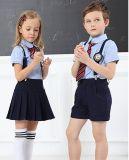 Uniforme escolar primario para los muchachos y la camisa azul de las muchachas con la correa y Tie
