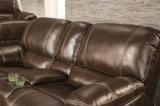 Wohnzimmer-Bewegungs-Sofa Loveseat SchalthebelReclinerbrown-Oberseite-Leder-Möbel