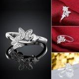 Anillo plateado plata de plata de las mujeres de la dimensión de una variable de la mariposa del Zircon del anillo del diamante