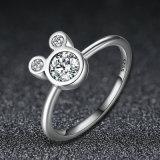 Anello cubico d'argento di Zirconia di Mickey Mouse dell'oro bianco dello Sterling 925