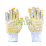 Связанные перчатки хлопка с желтым PVC ставят точки стороны ладони (D16-H2)