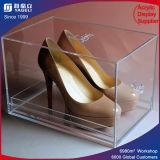 Caso de visualización de acrílico del zapato de la alta transparencia/rectángulos de zapato de acrílico