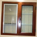 La grande finestra di alluminio francese della stoffa per tendine della finestra di vetro di formato con i ciechi comercia