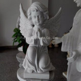 Marbre blanc Petite sculpture d'ange pour le cimetière