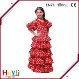 Vestito da partito rosso classico di festa della principessa Stage Performance Costume di ballo del merletto