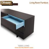 TV en color nogal armario, mueble de TV de madera con patas de acero inoxidable