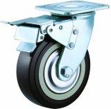 4/5/6/8 Zoll-Hochleistungsschwarzes PU-Fußrollen-Rad-industrielle Schwenker PU-Fußrolle
