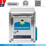 Pequeña caja de sugerencias de aluminio cuadrado con el sostenedor de la pluma y la caja de nota