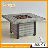 Venda a quente Praça exterior moderno Fogueira churrascos Tabela de vime para o pátio com jardim Mobiliário Mesa de alumínio