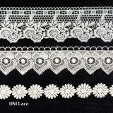 Água de seda do leite - guarnição química solúvel do laço do poliéster para o teste padrão de flor L099 dos vestidos