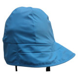 Adultのための空のBlue PU Waterproof Raincoat/Rain CapかHat
