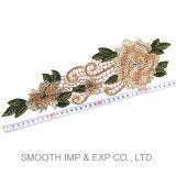 Broderie faite sur commande en gros de Rose de fleur de connexion de broderie pour l'habillement de femmes