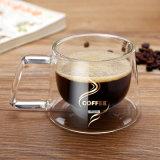 Caneca de café de vidro da parede de vidro creativa do dobro do copo de café da isolação da caneca do café