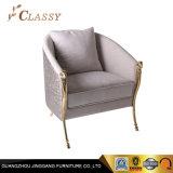 Flanela de damasco topo da estrutura de aço inoxidável Gold Cadeira de Lazer