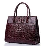 Hochwertiger kundenspezifischer Entwurfs-Rotwein-realer Krokodil-Ledertote-Beutel für Frauen