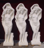 Estátua de escultura de pedra de mármore branco / Escultura para jardim