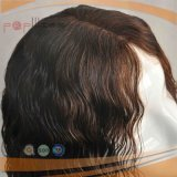 까만 형식 파도치는 Remy 사람의 모발 실리콘 가발 (PPG-l-02525)