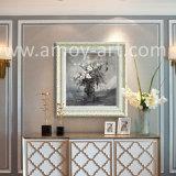 Arte in bianco e nero delle pitture a olio del fiore della lama di gamma di colori