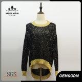 Maglione della scintilla del nero delle donne con i polsini ed il bordo di Callor dell'oro