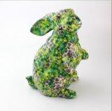 عالة [هوتسل] أرنب زاهية خزفيّ مع زهرة يشبع ملصق مائيّ مال بنك