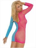 Nouveau design Doll V-Neck Fishnet Mini lingerie sexy
