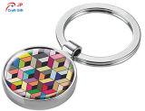 판매를 위한 주문을 받아서 만들어진 색깔 둥근 아연 합금 Keychain