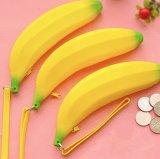 Porte-monnaie à fermeture éclair en silicone à base de banane à l'eau portative