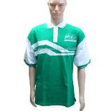 Camicia di polo su ordinazione di stampa del cotone con il marchio del ricamo