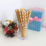 Los niños al por mayor de la fiesta de cumpleaños suministros de papel de oro Pajita