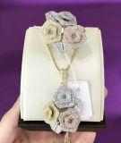 Dubai Joyas chapado en tres colores Set de joyas de zirconio cúbico