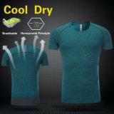 Impression du T-shirt d'ajustement de courbure de Spandex de polyester de sports de forme physique des hommes secs de gymnastique votre propre logo