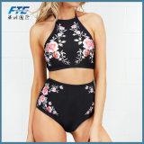 Druck BlumenHight Taillen-Badebekleidungs-Frauen-reizvoller Badeanzug-Brasilianer-Bikini