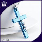 Op485 Blauwe Gegraveerde DwarsTegenhanger met 3 Ringen