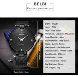 Belbi Japan Bewegungs-super dünne Mann-Quarz-Batterie-Armbanduhr mit ultradünnem Edelstahl-Band-Goldschwarz-Silber, damit Sie wählen