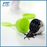 Filtro reusável de Infuser do chá doce do silicone da folha com bandeja da gota