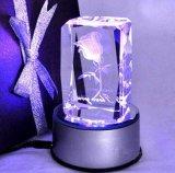 Kristallblock-Glaswürfel mit 3D Zoll-Firmenzeichen Laser-Engraing