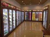 Супермаркет в вертикальном положении прилавок-витрина морозильной камеры с помощью поворотного стекла передней двери