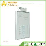 ESPIGA nova luz de rua 20W solar integrada com a bateria e o sensor da vida Po4