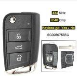 ID 434 MHz48 Chip 3 Bouton Keyless-Go/ Flip Key Fob à distance pour Volkswagen Golf Mqb VII Mk7, pour Skoda Octavia A7