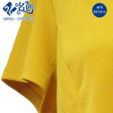Golden-Amarillo manga corta de trasero-cremallera V-Neckline moda damas blusa de verano